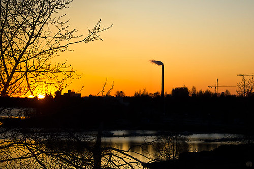 sunset orange sun black silhouette canon finland evening branch pipe oulu factorypipe kristiinahillerström chrisseee