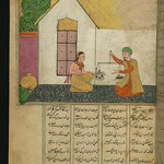Illuminated Manuscript, Collection of poems (masnavi), The husband of a greedy woman weighs the cat that supposedly ate all the meat that he bought for his guests, Walters Art Museum Ms. W.626, fol. 255a