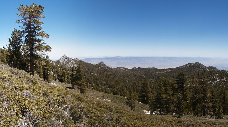 Looking down toward Long Valley. Cornell Peak is on the left. The upper tram station is on the ridge right of center.