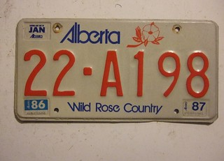 ALBERTA 1986-87 ---COMMECIAL PLATE #22-A198