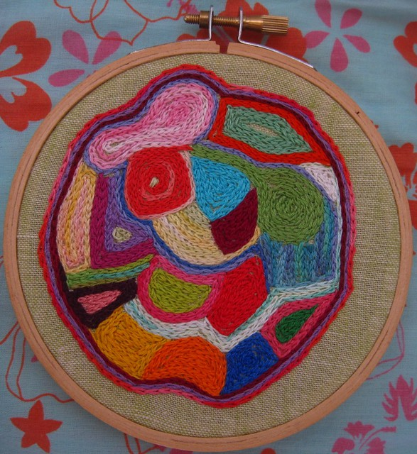 Embroidery hoop abstract circle chain stitch boho