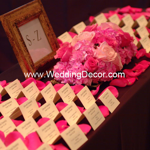 Brown & Fuchsia Wedding Reception - Card table
