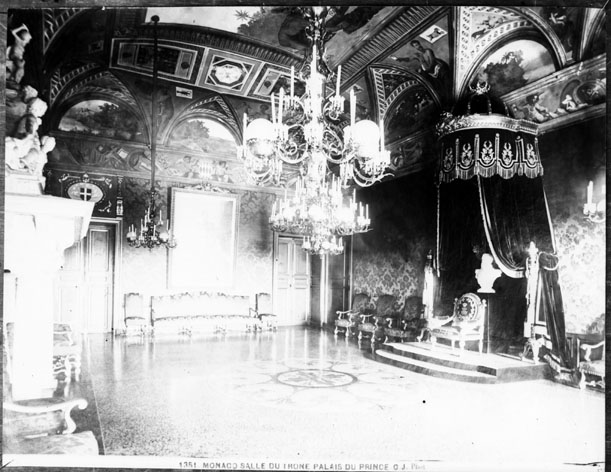 Salle du trône, palais princier, Monaco (carte postale)