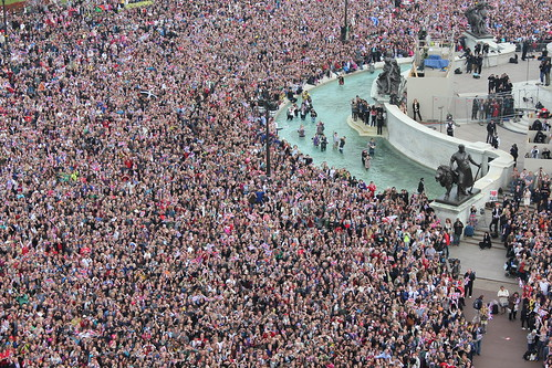 Crowds gather outside Buckingham Palace