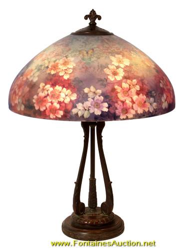 86: Handel 18 in. 6688 Reverse Painted Lamp