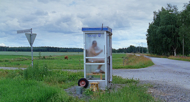 A sauna inside a telephone booth