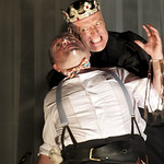 Wayne Cater (Tyrell) and Richard Clothier (King Richard) in William Shakespeare's RICHARD III directed by Edward Hall at the Huntington. Boston University School of Theatre in association with Huntington Theatre Company presents Propeller Theatre Company in William Shakespeare's 'The Comedy of Errors,' performed in repertory with 'Richard III,' directed by Edward Hall, playing May 18 - June 19, 2011 at the Avenue of the Arts / BU Theatre. Photo: Manuel Harlan