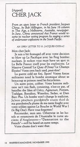 Cher Jack, Harper's Magazine