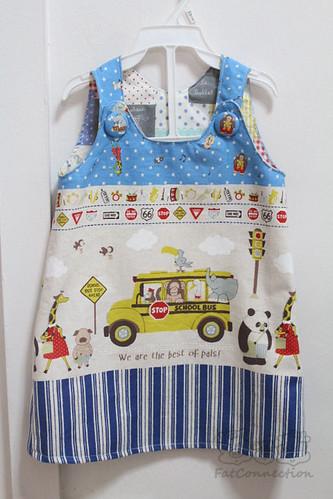 pinafore, children clothing, japanese fabric, handmade, school, best of pals, kokka