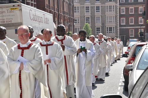 Priests arriving for the Chrism Mass