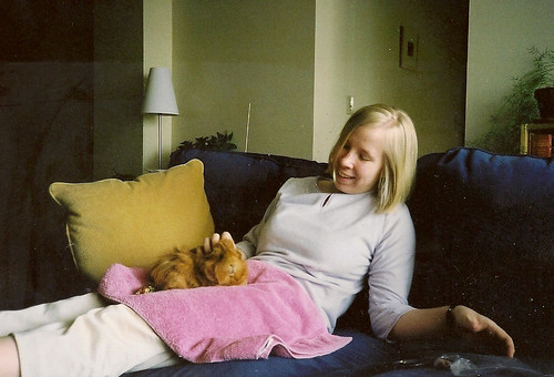 Amber with her guinea pig Tilly in 2001