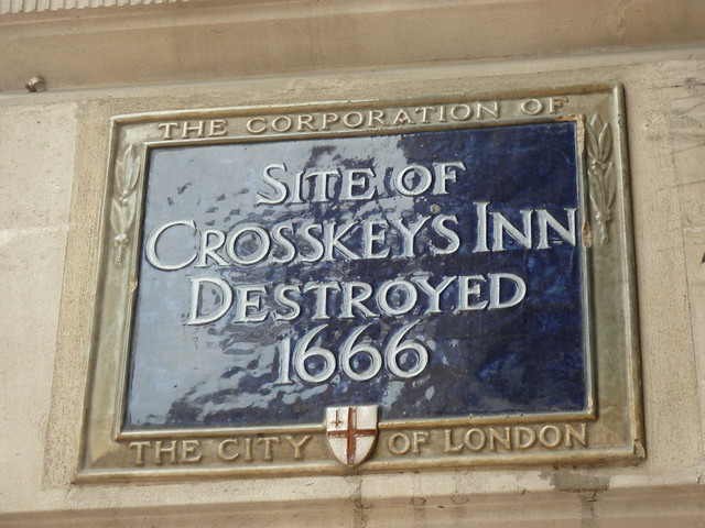 Blue plaque № 6086 - Site of Crosskey's Inn destroyed 1666