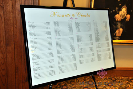 Seating chart poster for reception by Diamond Events