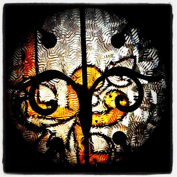 Header of antique glass