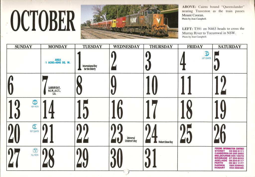 1996atc0023 October Page 1996 Australian Trains Calendar Flickr