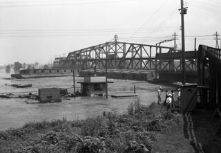 View of bridge and barges on flooded Mississippi River at Hannibal, Missouri (MSA)
