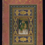 Album of Persian and Indian calligraphy and paintings, Shāh Jahān enthroned and holding a falcon, Walters Manuscript W.668, fol.44b
