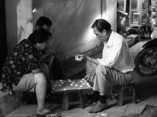 Old men at play, Old Quarter, Hanoi