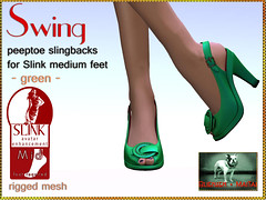 Bliensen + MaiTai - Swing - Peeptoe Slingbacks for Slink Feet - green Kopie