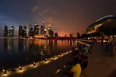 Sunset on Singapore skyline from Esplanade