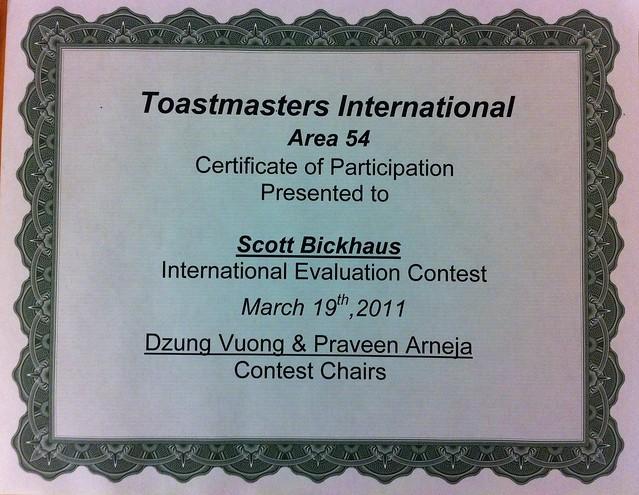 toastmasters certificate of appreciation template - participation certificate area 54 speech contest flickr