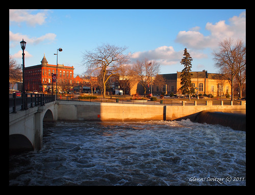 View across the Cannon River of the Downtown Post Office & Bridge Square ~ Northfield, Minnesota