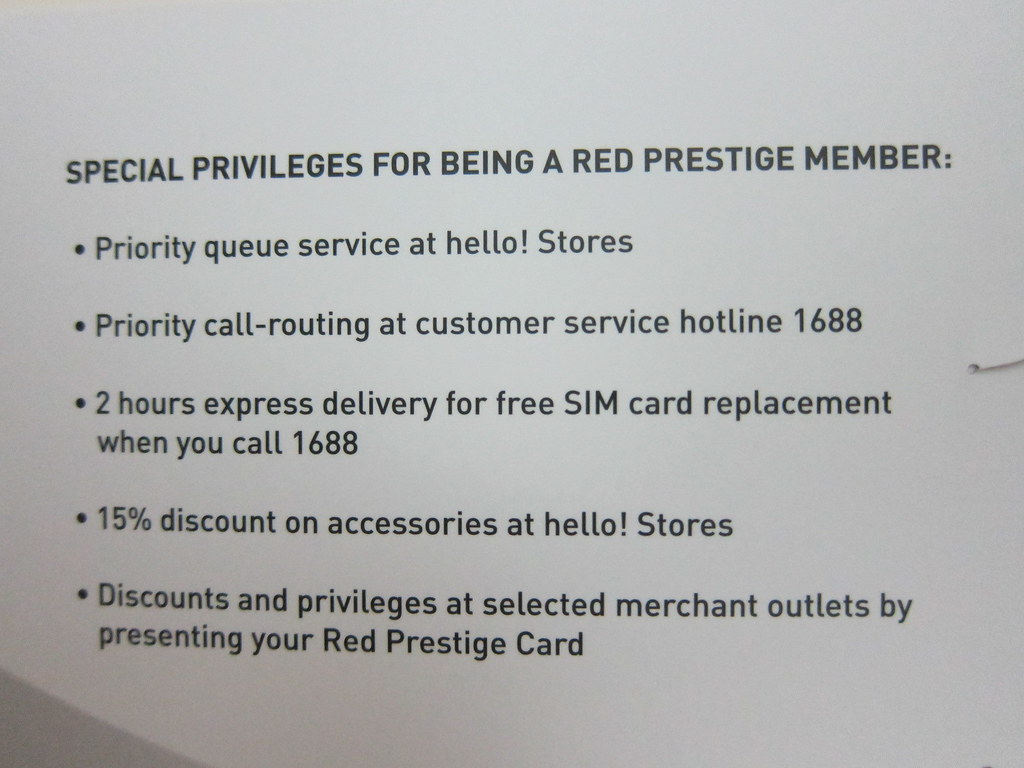 SingTel Red Prestige - Privileges