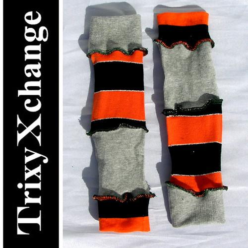 Trixy_Xchange_Baby_Leg_Warmers_Socks_Covers_Onsie_Pants_Boys_Girls_Orange_Grey_Gray_Striped_Soft_Hand_Made_DIY_OOAK