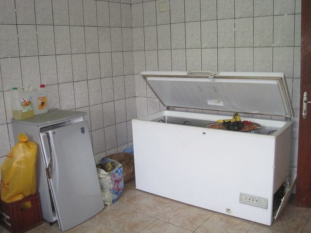 Broken refrigerator and freezer in a rich man's kitchen, Ngoung