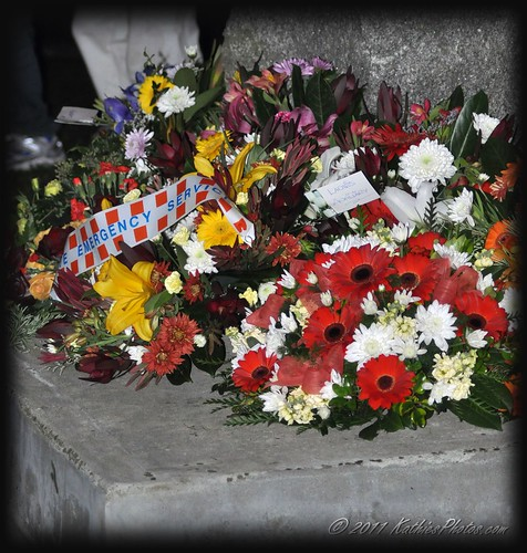 Wreaths laid at the Anzac Dawn service in Emerald