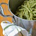 Pot of pasta with nettle pesto