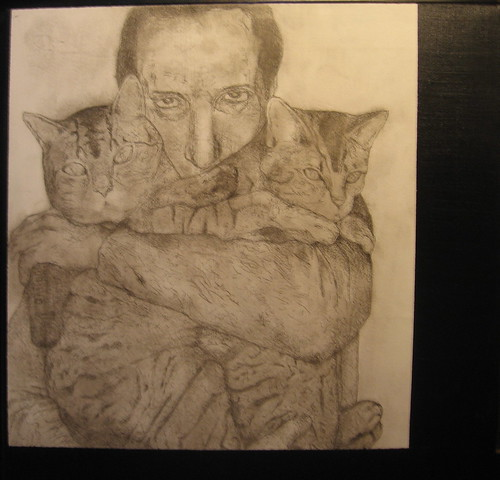 Man with cats.