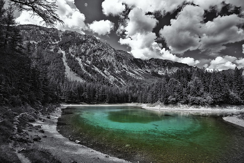 lake mountains colour green clouds canon geotagged austria see blackwhite smaragd styria selectivecolouring hochschwab tragöss canoneos7d