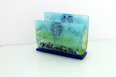 Fused Glass PAINTED napkin holder