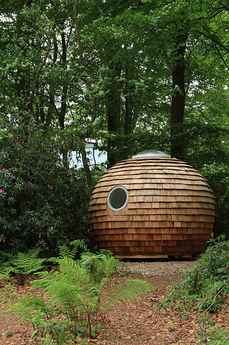 Pod in the woods, Lancaster University, Bailrigg, Lancaster, Lancashire, UK