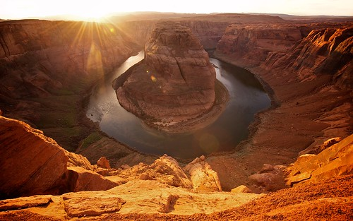 sunset arizona usa sun america river colorado canyon explore page coloradoriver flare meander horseshoe visuals twoeyes horseshoebend explored kingbend