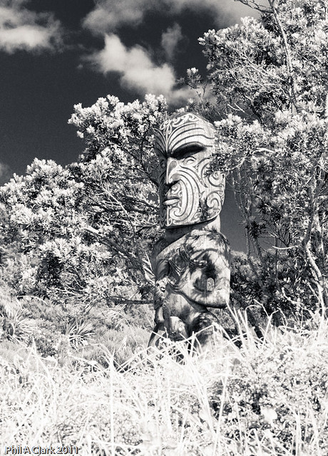 Maori Wood Carved Statue guards Omaha Beach