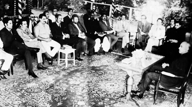 Bhutto with party loyalists including some who turned disloyal