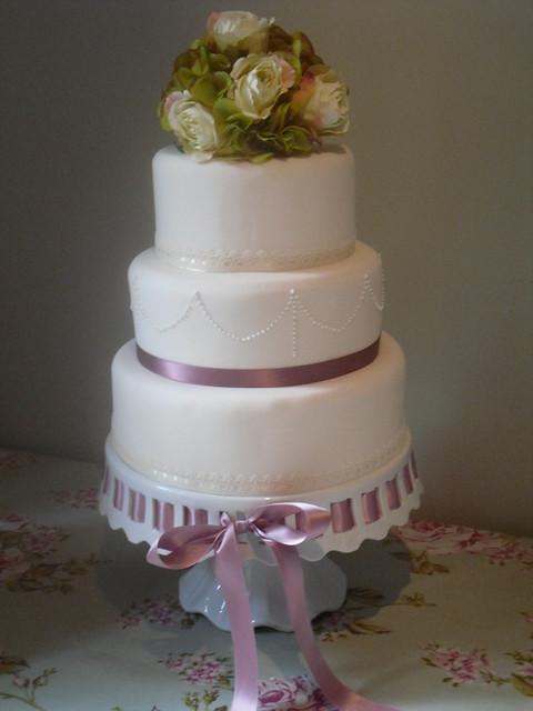 3 Tier Vintage Lace Wedding Cake