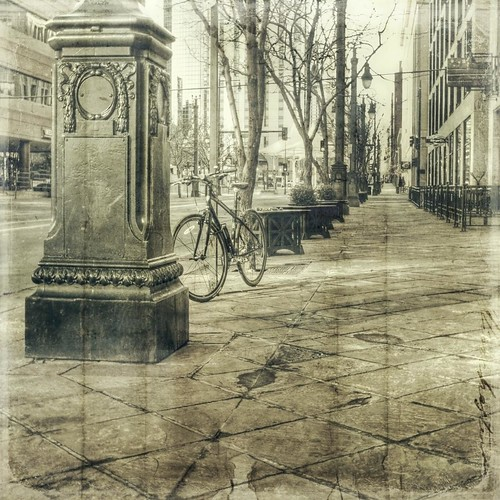 street morning urban bike canon vintage square colorado streetscene denver sidewalk hdr t1i tilestiled