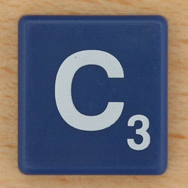 Scrabble White Letter on Blue C