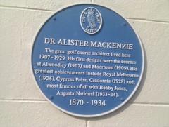 Photo of Alister MacKenzie blue plaque