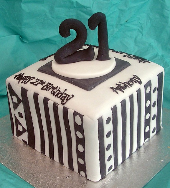 Square 21st Birthday cake - a photo on Flickriver