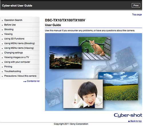 Sony TX100V Cyber-shot User Guide / Handbook (Advanced)