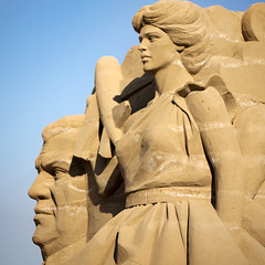 sand sculptures on the beach