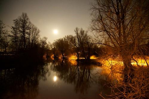 Fürther Stadtpark bei Vollmond