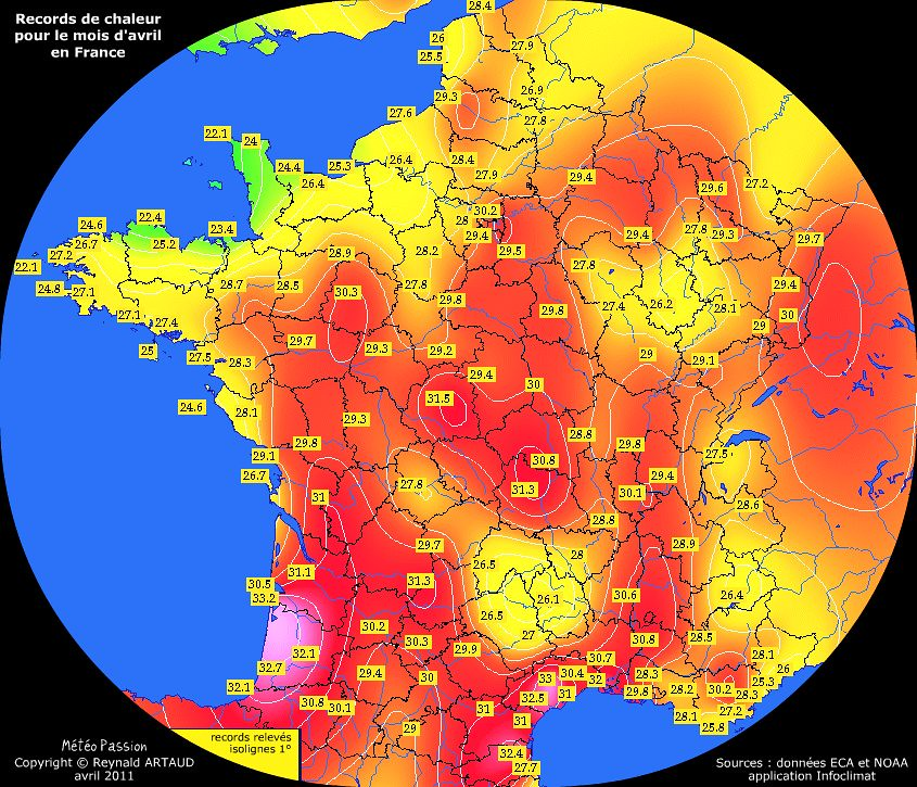 records de chaleur des températures maximales pour le mois d'avril en France Reynald ARTAUD météopassion