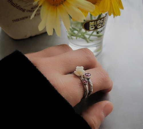 White rose and ruby ring