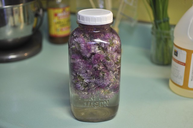 making chive vinegar