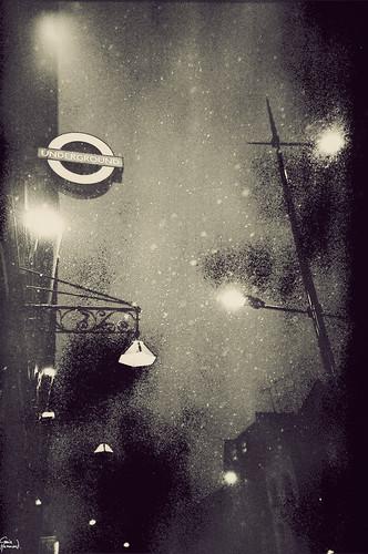 Camden Tube in the snow